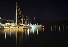 Фотография ночи парусников на острове Греции Ithaca Стоковая Фотография RF