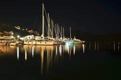 Фотография ночи парусников Ithaca Греции Стоковые Изображения