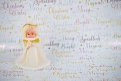 Фотография рождества старого несенного винтажного ручной работы белого золота fairy экстракласс дерева на предпосылке упаковочной Стоковая Фотография RF