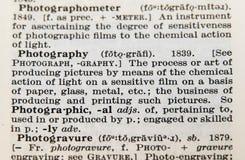 Фотография слова на старой странице словаря Стоковое Изображение RF