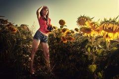 Фотограф девушки на поле солнцецветов Стоковые Изображения