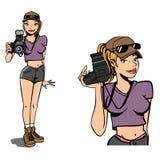 фотограф девушки иллюстрация штока