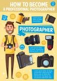 Фотограф, камера и оборудование мультфильма иллюстрация штока