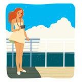 Фотограф на палубе Стоковые Изображения