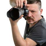 Фотограф портрета с камерой на изолированной предпосылке Стоковые Изображения