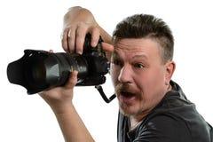 Фотограф портрета с камерой на изолированной предпосылке Стоковая Фотография RF