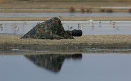 Фотограф птицы стоковые изображения