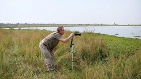 Фотограф человека фотографирует на стойке камеры на треноге в живой природе Африки акции видеоматериалы
