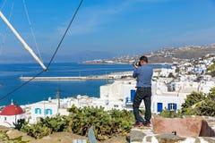 Фотограф человека Mykonos Стоковое Изображение