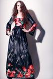 Фотомодель в длинном платье вечера Стоковое Изображение RF