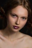 Фотомодель с губами звезды Стоковые Изображения