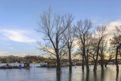 Фотоснимок затопленной земли с плавая домами на Реке Сава - Стоковые Фотографии RF