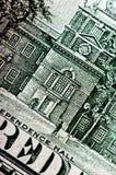 Фотоснимок макроса конец вверх, деталь долларовой банкноты 100 Стоковая Фотография RF