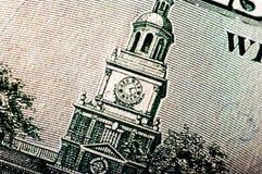Фотоснимок макроса конец вверх, деталь долларовой банкноты 100 Стоковые Фото