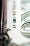 Фотоснимок макроса конец вверх, деталь 1 долларовой банкноты Стоковые Изображения