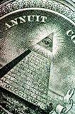 Фотоснимок макроса конец вверх, деталь 1 долларовой банкноты Стоковое Изображение