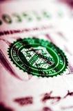 Фотоснимок макроса конец вверх, деталь 1 долларовой банкноты Стоковое Изображение RF