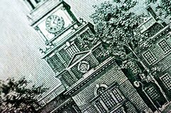 Фотоснимок макроса конец вверх, деталь долларовой банкноты 100 Стоковое Изображение RF