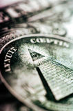 Фотоснимок макроса конец вверх, деталь 1 долларовой банкноты Стоковые Фото