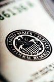 Фотоснимок макроса конец вверх, деталь 1 долларовой банкноты Стоковая Фотография RF