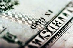 Фотоснимок макроса конец вверх, деталь долларовой банкноты 100 Стоковые Изображения RF