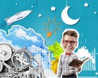 1 фото бизнесмена книги Стоковое Изображение