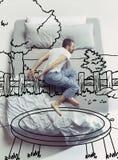 Фото взгляд сверху молодого человека спать в большой белой кровати и его мечтах стоковые фото