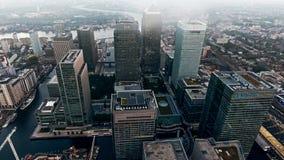 Фото вида с воздуха района и небоскребов города Лондона финансовых Стоковые Фотографии RF