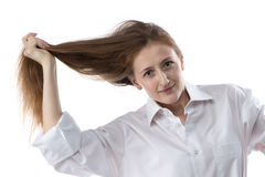 Фото вытягивать женщину волос с естественным составляет стоковое фото rf