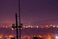 Фото долгой выдержки Большая городская жизнь с освещением стоковые фотографии rf