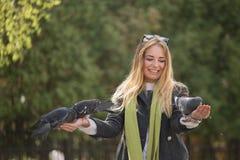 Фото девушки и голубей Подавая голуби в парке Стоковое Изображение RF