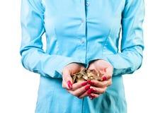 Девушка с монетки стоковое изображение rf