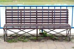 Фото деревянной скамьи в парке Стоковые Изображения RF