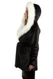 Фото женщины в меховой шыбе - профиле Стоковая Фотография