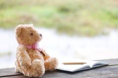 Фото запаса: Плюшевый медвежонок самостоятельно на backg bokeh природы деревянного стола Стоковое Фото
