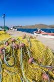 Фото запутанной рыболовной сети против Стоковое Фото