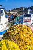 Фото запутанной рыболовной сети против Стоковое фото RF