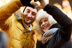 Фото зимы любящих пар стоковое фото rf