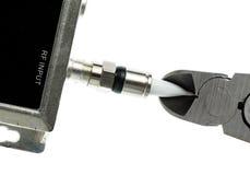 Фото изолированное концепцией шнура кабеля вырезывания Стоковое фото RF