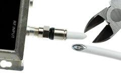 Фото изолированное концепцией шнура кабеля вырезывания Стоковые Фотографии RF