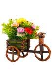 Фото изолированной вазы цветка велосипеда Стоковые Изображения RF