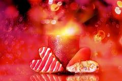 Фото искусства Печенья в форме сердца и свечи Стоковые Фото