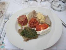 Фото итальянских закусок: тартар, сыр Стоковые Фото