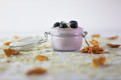 Фото йогурта голубики с миндалинами и высушенным манго С белой предпосылкой стоковое изображение rf