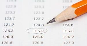 Фото карандаша на таблице с nimbers Стоковое фото RF