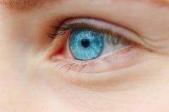 Фото конца-вверх голубого глаза Стоковая Фотография RF