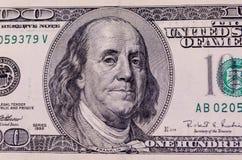 Фото конца-вверх 100 долларов счета Стоковая Фотография