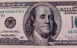 Фото конца-вверх 100 долларов счета Стоковые Фотографии RF