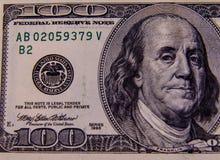 Фото конца-вверх 100 долларов счета Стоковые Изображения