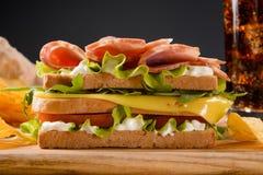 Фото конца-вверх сандвича с мясом Стоковые Фото
